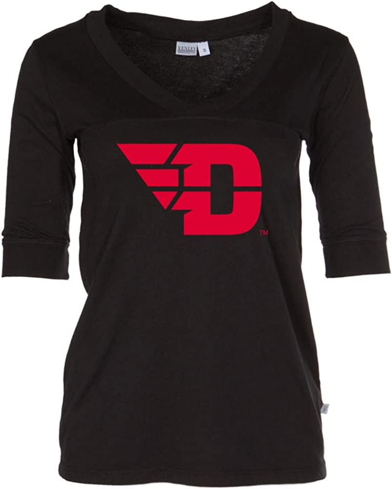 NCAA Dayton Flyers PPDTU01 Womens 3//4 Sleeve Fitted Tee Shirt