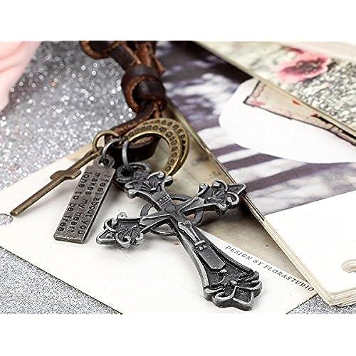 Flongo Men's Vintage Alloy Bronze Jesus Christ Crucifix Celtic Cross Pendant Leather Necklace, 16 Inch