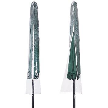 Yescom Portable Waterproof Outdoor Patio Umbrella Cover Bag Transparent PVC Protective w/Zipper Fit 6 7 8 9 10 Umb