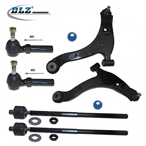DLZ 6 Pcs Front Suspension Kit-2 Lower Control Arm Ball Joint Assembly 2 Inner 2 Outer Tie Rod End Compatible with 2000-2002 Chrysler Neon Dodge Neon 2003-2005 Dodge Neon 2.0L 2003 Dodge SX 2.0