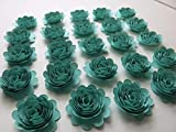 Set of 24 Caribbean Blue Carnations, 1.5'' Aquamarine Paper Flowers, 3D Table Runner Scatter, Millinery, Card Making