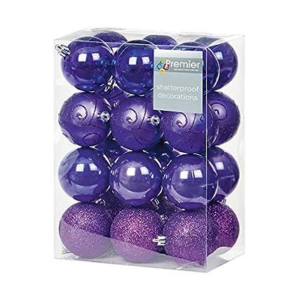 24 X Assorted Purple Christmas Baubles Balls Decorations
