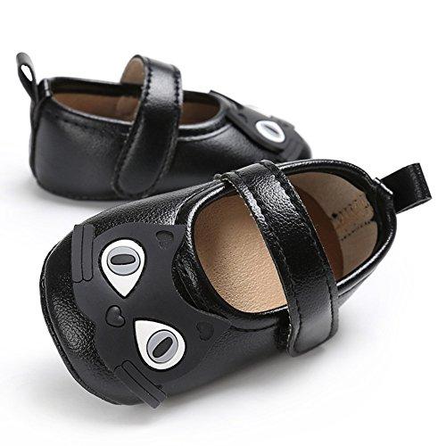 gloryhonor Infant bebé niña niños–Soporte de piel sintética diseño de vestido de gato suave zapatos regalo plateado plata Talla:6-12 meses negro