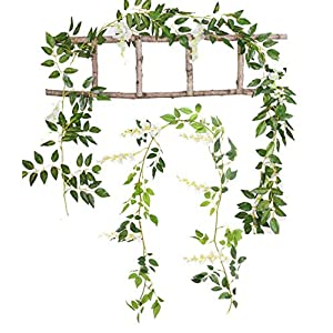 Mistari 2 Pack Artificial Flowers Simulation Leaves Silk Wisteria Ivy Vine Green Leaf Hanging Vine Garland for Garden Wedding Outside Birthdays Prom Party Decorations (White) 14