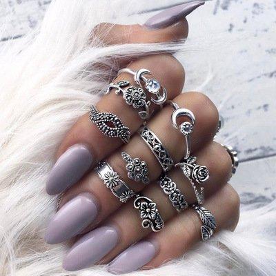 11 Pz Anelli retrò di modo,Fingerring set per le ragazze delle donne,Fascia della barretta del chiodo dell'anello di midi delle donne di modo