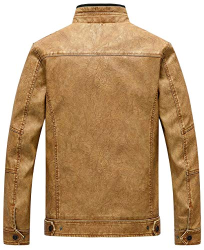 Classic Distressed Faux Warm Yellow Jacket Vintage Coat Autumn Leather Bomber Spring Winter Motorcycle Thick Men's Windproof JIINN fYq05Tf
