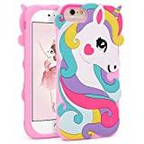 Vivid Unicorn Case for iPhone 8 7 6 6S 4.7',3D Cartoon Animal Cute Soft Silicone Rubber Character Pink Cover,Animated Stylish Fashion Cool Protective Skin Shell for Kids Child Teens Girls (i876 4.7')