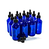 (12 Pack) 4 oz. Cobalt Blue Boston Round with Black Glass Dropper (22/400)