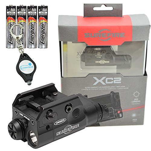 (SureFire XC2 Weaponlight Ultra Compact LED with Red Laser Handgun Light with 4 Extra Energizer AAA Batteries and Lumintrail Keychain)