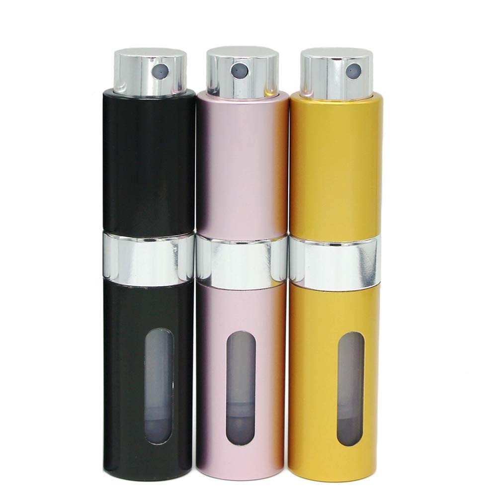 3 Pack-8 Milliliter PortableMini Refillable Perfume Atomizer Bottle, Refillable Perfume Spray, Easy to Fill Scent Aftershave Pump Case for Travel Outgoing Multicolor