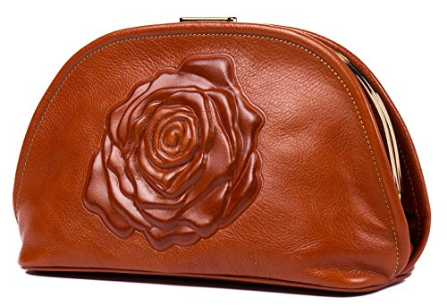 Malirona Floral Leather Fashion Women Evening Clutch Purses Top-handle Handbags (Brown) by Malirona