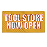 Tool Store Now Open Outdoor Fence Sign Vinyl Windproof Mesh Banner With Grommets - 3ftx6ft, 6 Grommets