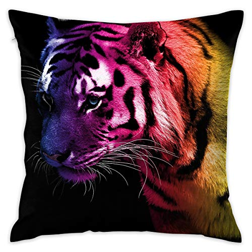 - Reteone Colorful Tiger Art Design Pillowcase Covers - Zippered Pillow Case Cover, Pillow Protector, Best Throw Pillow Cover - Standard Size 18x18 Inch, Double-Sided Print Pillowcases