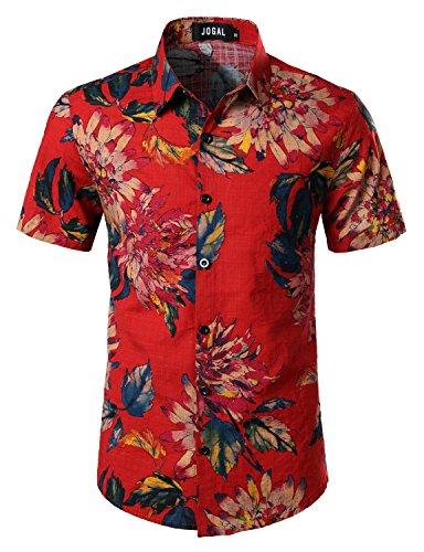 Red Flower Shirts (JOGAL Men's Flower Casual Button Down Short Sleeve Hawaiian Shirt X-Large A334 Red)