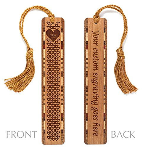 Personalized I Love You Engraved Hearts Valentine Bookmark with Tassel - Made in the USA - Search B01A7TN1ZO to see non personalized version.