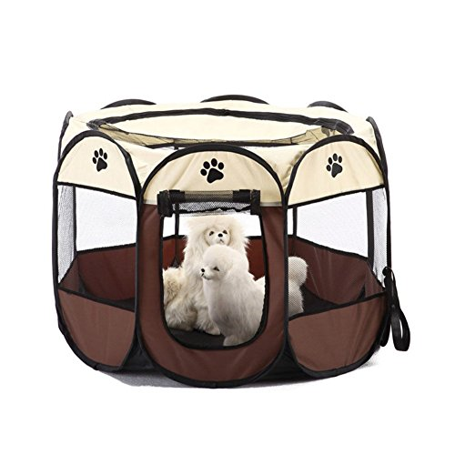 ASOSMOS Pet Cat Dog Puppy Fence Tent Playpen 8 Panels Foldable Portable House Double Doors (brown)
