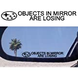 "(2) Mirror Decals "" OBJECTS IN MIRROR ARE LOSING"" for SUBARU BAJA FORESTER LEGACY TRIBECA SVX IMPREZA STI WRX OUTBACK AWD TURBO"