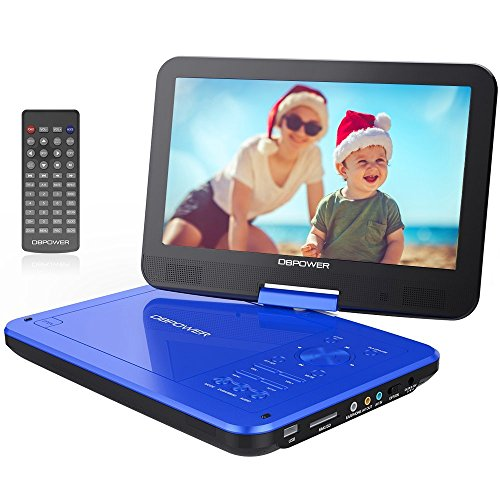 "DBPOWER 10.5"" Portable DVD Player with Rechargeable Battery, Swivel Screen, SD Card Slot and USB Port - Blue"