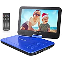 DBPOWER 10.5 Portable DVD Player with Rechargeable Battery, Swivel Screen, SD Card Slot and USB Port - Blue