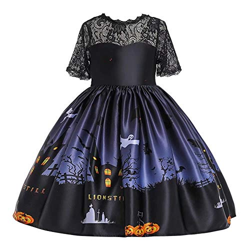 Tsyllyp Girls Halloween Christmas Themes Dresses Costume Kids Print Party Dress
