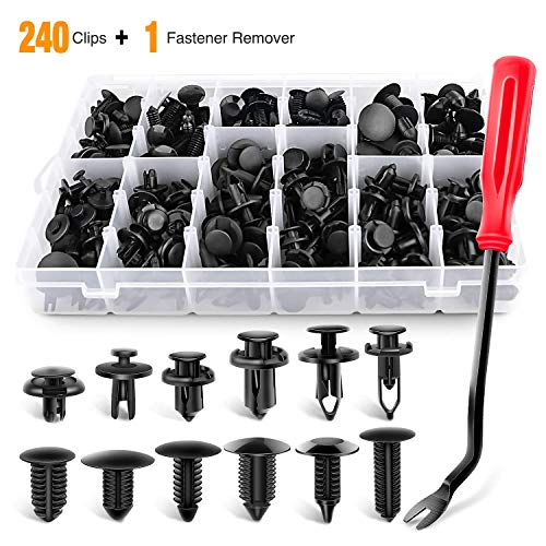GOOACC 240PCS Bumper Retainer Clips Car Plastic Rivets Fasteners Push Retainer Kit Most Popular Sizes Auto Push Pin Rivets Set -Door Trim Panel Fender Clips for GM Ford Toyota Honda Chrysler (Inner Fender Well Clips)
