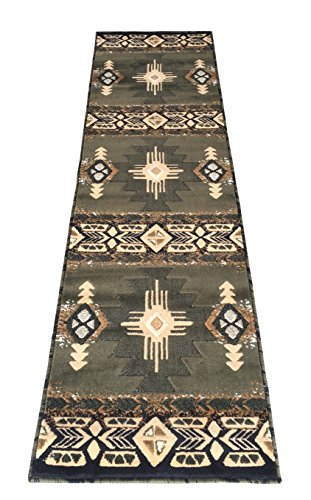 Rugs 4 Less Collection Southwest Native American Indian Runner Area Rug Design R4L 318 Olive Green, Sage Green (2'X7')
