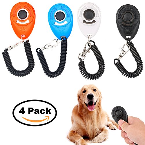 2017 New Upgrade Version, Dog Clicker Training Kit , Dog clicker with wrist strap, Pet Clickers Trainer metal