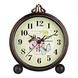HENSE 5 Classic Retro Antique Design European Style Decorative Mantel Clock Mute Silent Quiet Quartz Movement Metal Frame Desk Table Alarm clock HA65 (Rose)