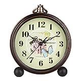 Hense 5'' Classic Retro Antique Design European Style Decorative Mantel Clock Mute Silent Quiet Quartz Movement Metal Frame Desk Table Alarm clock HA65 (Rose)