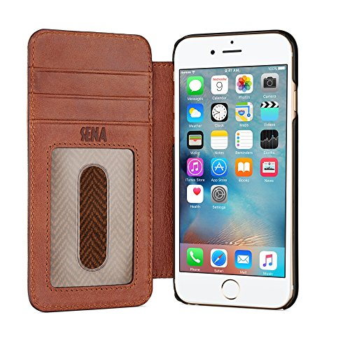 Sena Leather Iphone Cases - Sena Ultra Thin Wallet Book , Thinnest book style wallet case solution for the iPhone 8 / 7 / 6 (Cognac)
