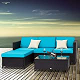 Peach Tree 5 PCs Outdoor Patio PE Rattan Wicker Sofa Sectional Furniture Set with 2 Pillows and Tea Table …
