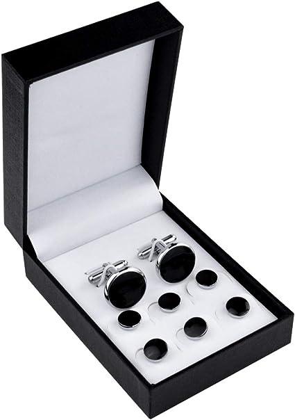 Shirt Dress Studs Black /& Silver in Gift Box