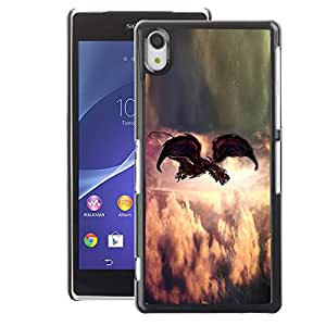 A-type Arte & diseño plástico duro Fundas Cover Cubre Hard Case Cover para Sony Xperia Z2 (Painting Indie Rock Feather God)