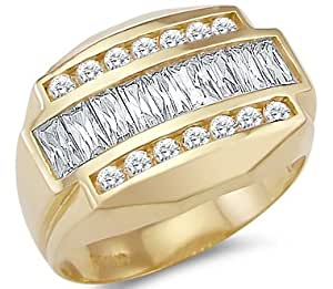 New Solid 14k Yellow Gold Mens Heavy Large CZ Cubic
