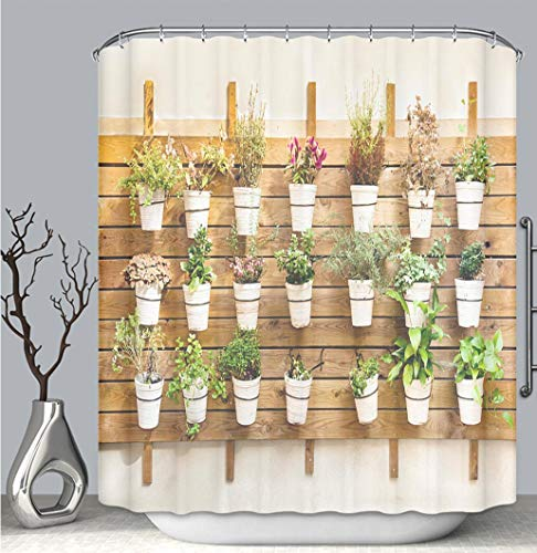 (BEICICI Color Shower Curtain Liner Anti-Mildew Antibacterial, Plants in pots Wall Mount_ Multi-Color,Custom Shower Curtain Bathtub Bathroom Accessories.)