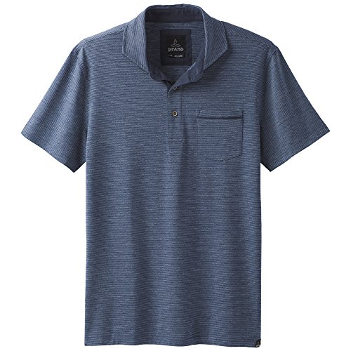 prAna Pacer ss Polo, Equinox Blue, (50 Blended Jersey Polo)