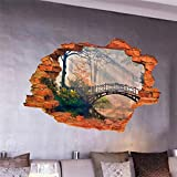 forest tree bridge through the wall stickers room decoration 8024G. home decal pvc pastoral