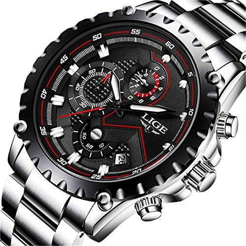 LIGE Watches Mens Luxury Stainless Steel Waterproof Analog Quartz Watch with Chronograph Business Dress Wrist Watch