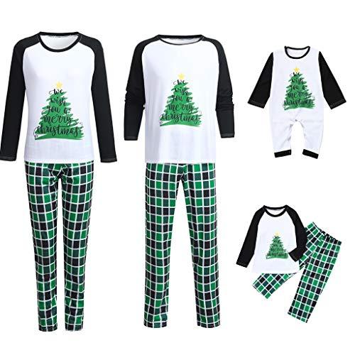Kehen Matching Set Family Christmas Holiday Pj Pajamas Xmas Cotton Sleepwear Nightwear Parent Child Family Equipment Dad X-Large Green (Best Christmas Pajamas 2019)
