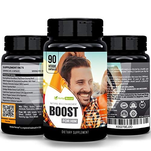 Herbal Revival Boost for Him - Male Enlarger XL Performance Amplification Supplement, Testosterone Booster, Natural Stamina, Endurance, Strength Booster Male Growth Pills, Mood Enhancer 90 Veg Capsule (Best Way To Enlarge Penis)