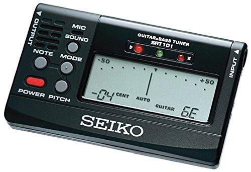 Seiko SAT101B - Afinador para guitarra y bajo, color negro - Seiko: Afinador digital SAT 101 B