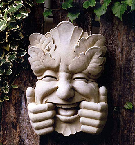 KensingtonRow Home Collection Garden PLAQUES - Giggling Green Man Stone Wall Sculpture - Natural Stone Finish