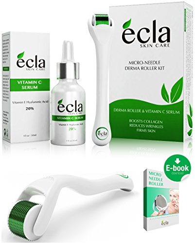 Derma Roller (0.25mm) & Vitamin C Serum (20%) Kit, with Hyaluronic Acid & Vitamin E (1 Oz.) for Face. Titanium Dermaroller for Home Use and safe with Travel Case