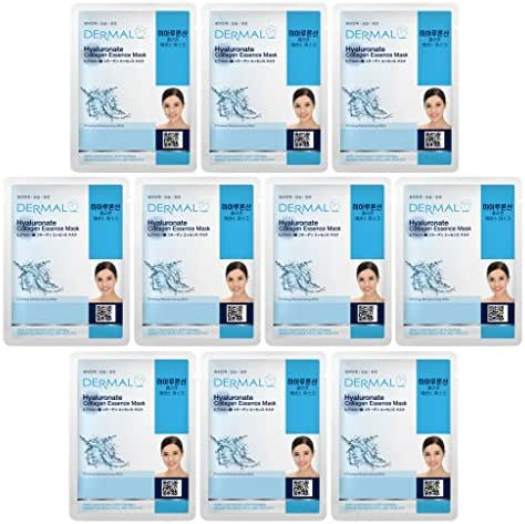 DERMAL Hyaluronate Collagen Essence Facial Mask Sheet 23g Pack of 10