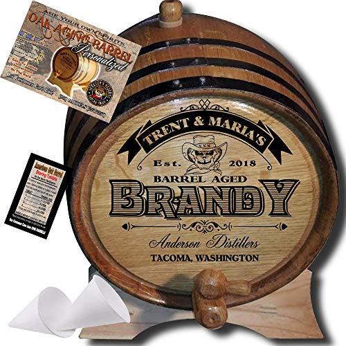 (Personalized American Oak Brandy Aging Barrel (106) - Custom Engraved Barrel From Skeeter's Reserve Outlaw Gear - MADE BY American Oak Barrel - (Natural Oak, Black Hoops, 2 Liter))
