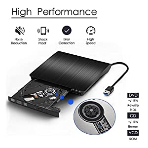 External CD Drive, Cocopa USB 3.0 Portable CD DVD +/-RW Drive Slim DVD/CD Rom Rewriter Burner Writer, High Speed Data Transfer for Macbook Pro Laptop/Desktops Win 7/8.1/10 and Linux OS