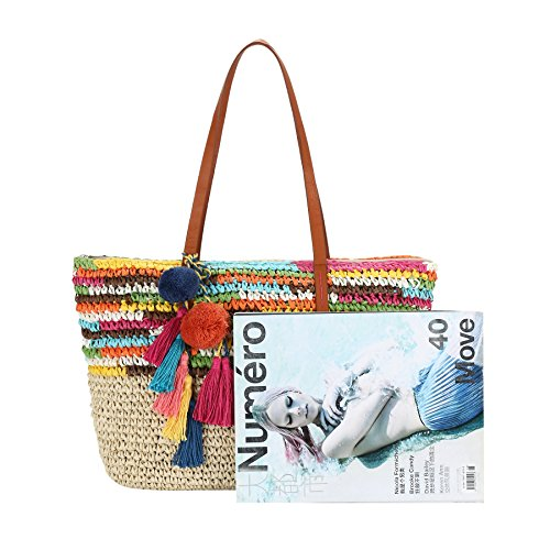 7a837f878 Daisy Rose Large Straw Beach Tote Bag with Pom Poms and Inner - Import It  All