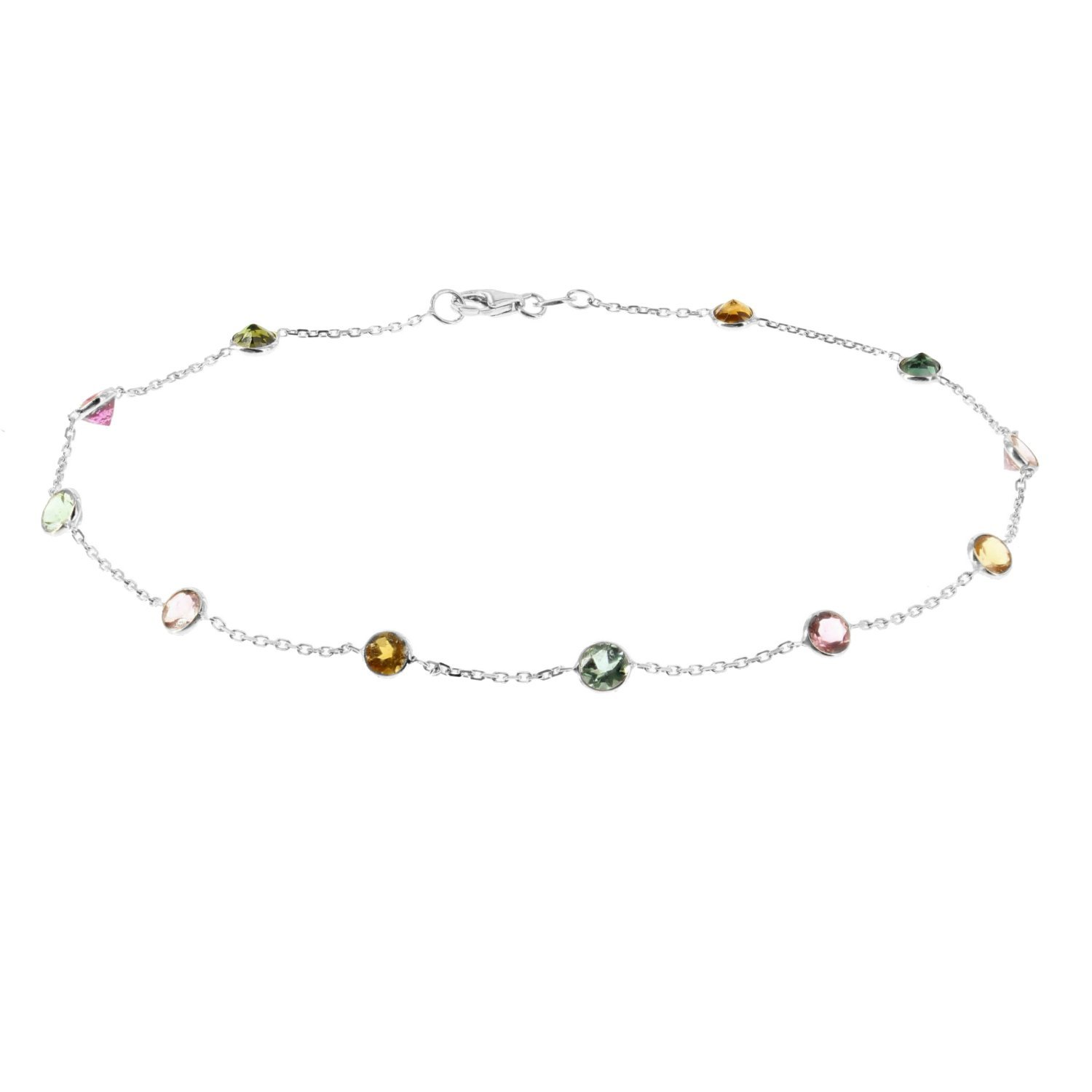 14k White Gold Handmade Station Anklet With Tourmaline Gemstones 9 - 11 Inches