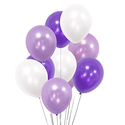 100 Pack 12quot White Light Purple Dark Violet Balloons For Valentines Day Party Mermaid Theme