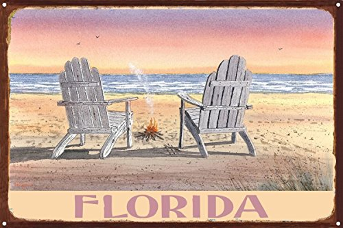 Florida Adirondack Chairs Beach Rustic Metal Art Print by Dave Bartholet (12